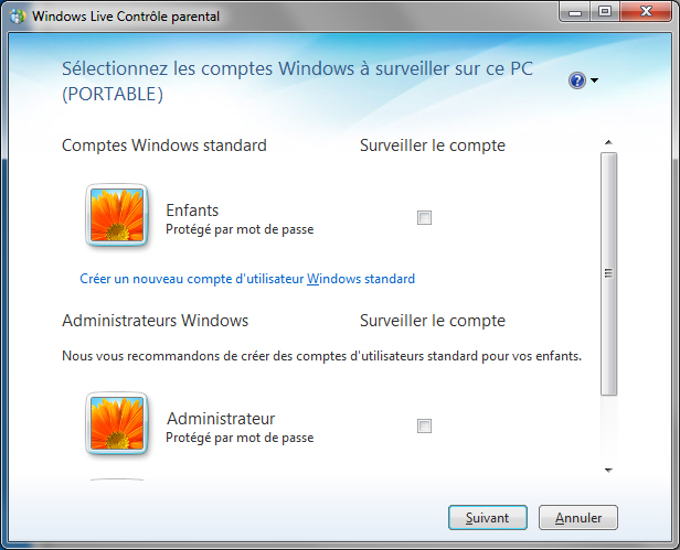 Windows Live Control parental